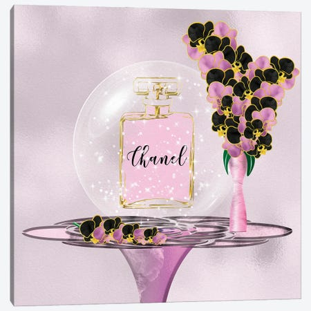 Azura Pink Perfume Bottle & Orchids Canvas Print #POB392} by Pomaikai Barron Canvas Art