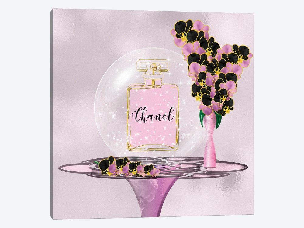 Azura Pink Perfume Bottle & Orchids by Pomaikai Barron 1-piece Canvas Art Print