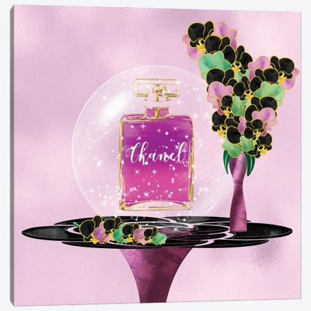 Azina Dark Pink Perfume Bottle & Orchids Canvas Print #POB393} by Pomaikai Barron Canvas Art