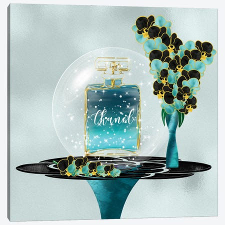 Azeni Teal Blue Perfume Bottle & Orchids Canvas Print #POB394} by Pomaikai Barron Canvas Art Print