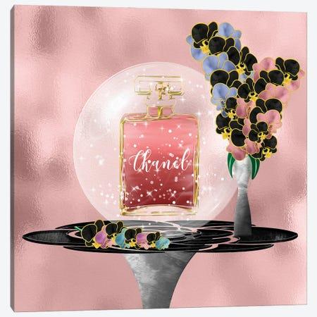 Azeliana Dark Blush Perfume Bottle & Orchids Canvas Print #POB396} by Pomaikai Barron Art Print