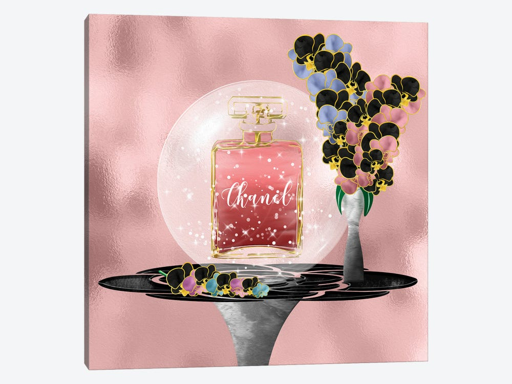Azeliana Dark Blush Perfume Bottle & Orchids by Pomaikai Barron 1-piece Canvas Art Print