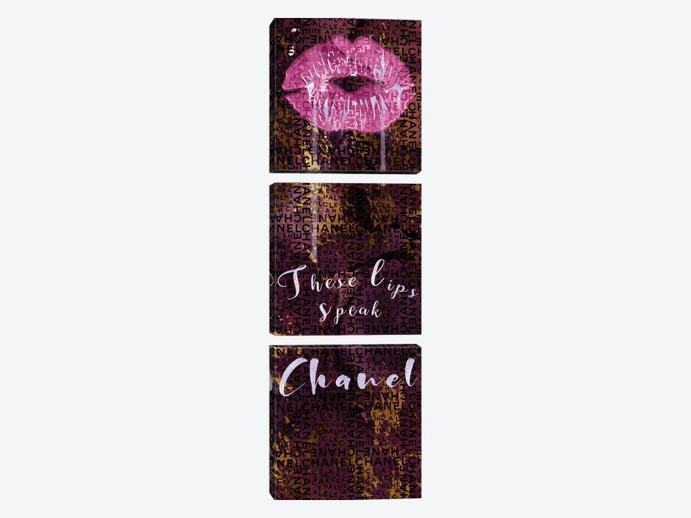 These Lips Speak Chanel by Pomaikai Barron 3-piece Canvas Art Print