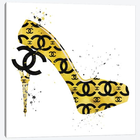 Chanel Black Gold High Heel I Canvas Print #POB42} by Pomaikai Barron Canvas Print