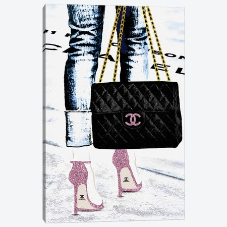 Lady With The Chanel Bag And Rose High Heels Canvas Print #POB438} by Pomaikai Barron Canvas Print