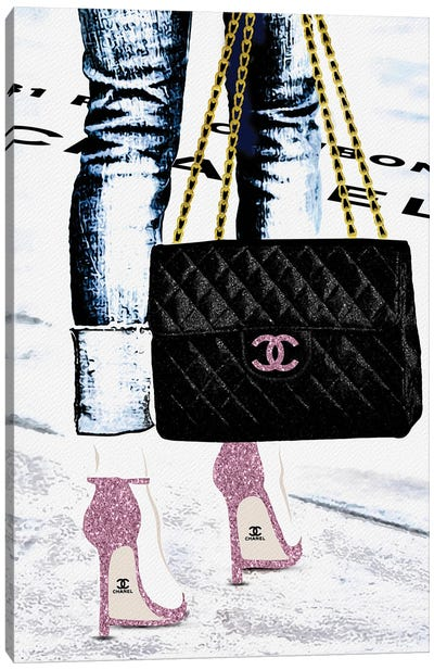 Lady With The Chanel Bag And Rose High Heels Canvas Art Print