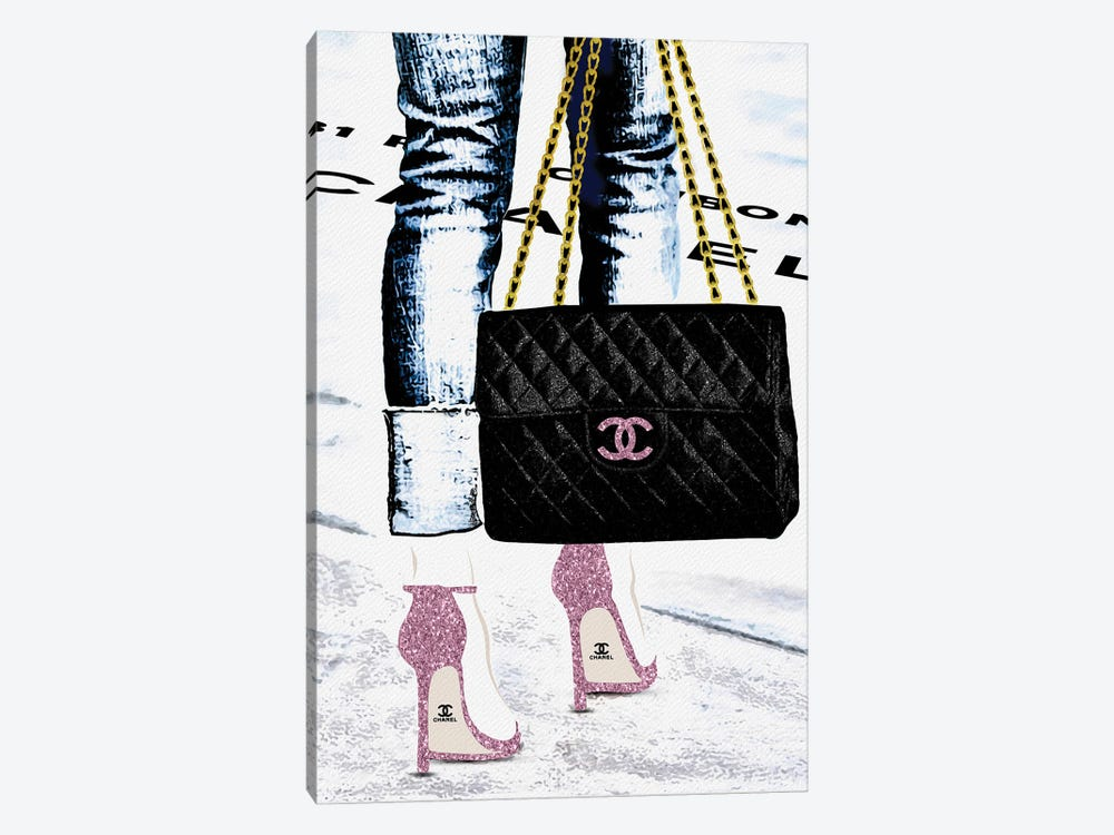 Lady With The Chanel Bag And Rose High Heels by Pomaikai Barron 1-piece Canvas Artwork