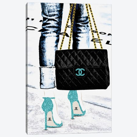 Lady With The Chanel Bag And Teal High Heels Canvas Print #POB439} by Pomaikai Barron Canvas Print