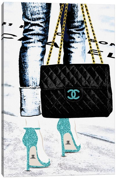 Lady With The Chanel Bag And Teal High Heels Canvas Art Print