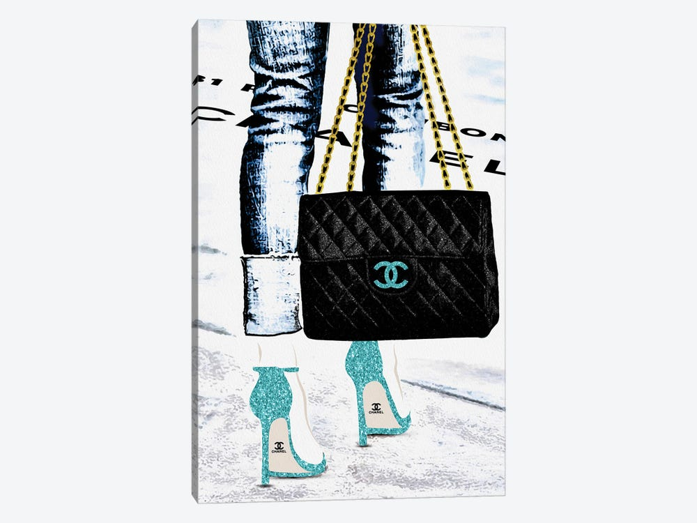 Lady With The Chanel Bag And Teal High Heels by Pomaikai Barron 1-piece Canvas Print
