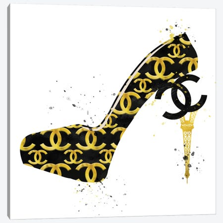 Chanel Black Gold High Heel II Canvas Print #POB43} by Pomaikai Barron Canvas Art Print