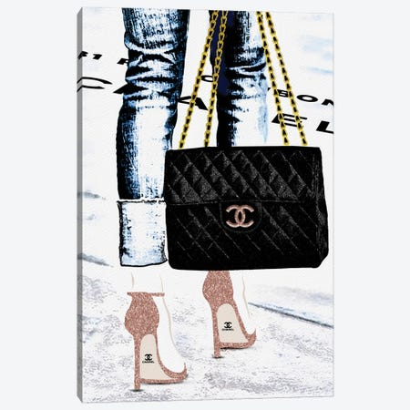 Lady With The Chanel Bag And Rose Gold High Heels 3-Piece Canvas #POB441} by Pomaikai Barron Canvas Wall Art