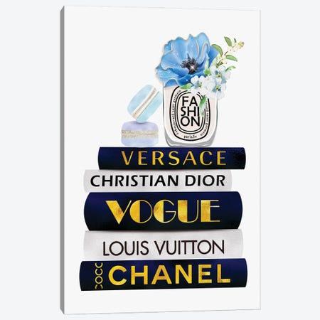 Fashion Candle & Macarons On Blue White Gold Fashion Books Canvas Print #POB442} by Pomaikai Barron Canvas Artwork