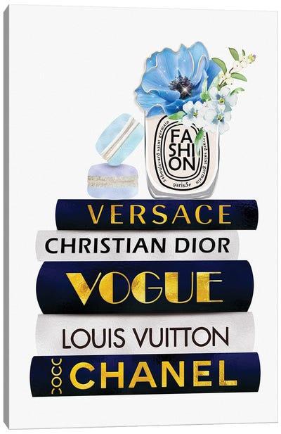 Fashion Candle & Macarons On Blue White Gold Fashion Books Canvas Art Print