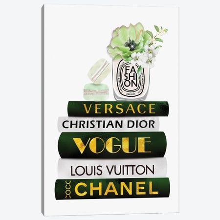 Fashion Candle & Macarons On Green White Gold Fashion Books Canvas Print #POB443} by Pomaikai Barron Canvas Artwork