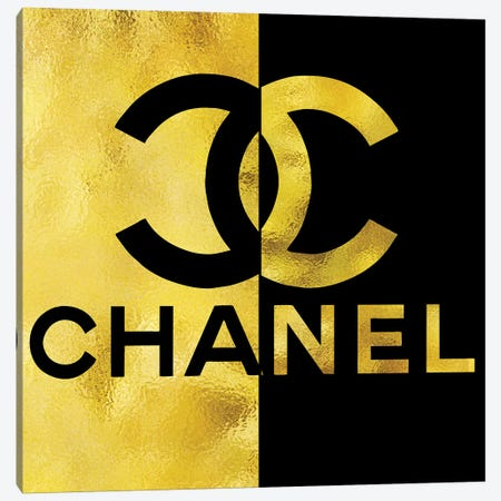 Chanel Black Gold High Heel III Canvas Print #POB44} by Pomaikai Barron Canvas Wall Art