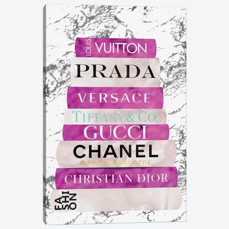 Fashion Nerd-Bright Pink & Beige Book Stack Canvas Print #POB459} by Pomaikai Barron Canvas Art Print