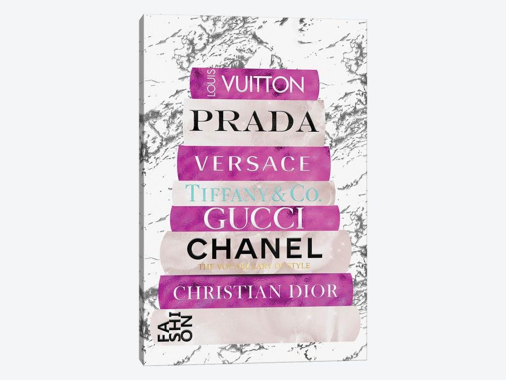 Fashion Nerd-Bright Pink & Beige Book Stack by Pomaikai Barron 1-piece Canvas Art Print