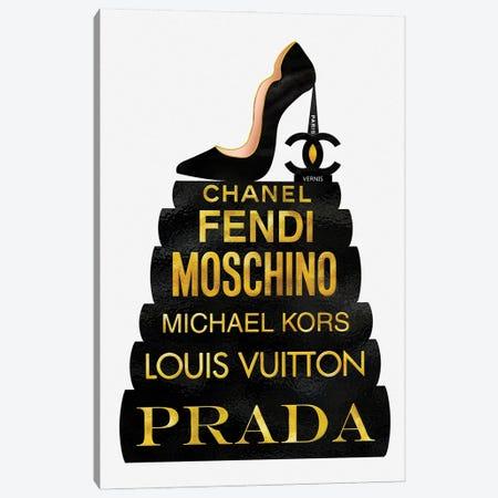 Black & Gold Paris Vernis High Heel On Fashion Books Canvas Print #POB464} by Pomaikai Barron Art Print