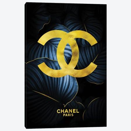 Chanel Double Cs Tropical Blue 3-Piece Canvas #POB46} by Pomaikai Barron Canvas Wall Art