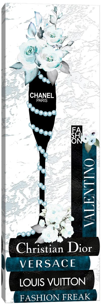 Champagne Glass With Flowers Pearls On Blue & Black Fashion Books Canvas Art Print