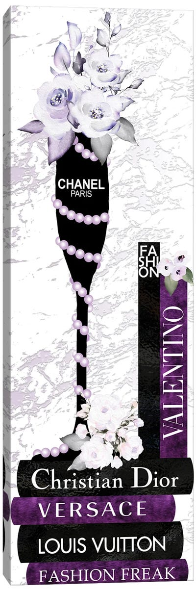 Champagne Glass With Flowers Pearls On Purple & Black Fashion Books Canvas Art Print