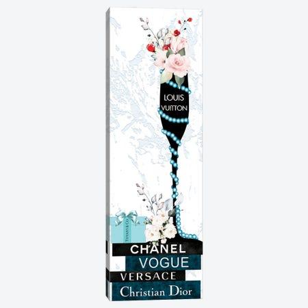 Louis Champagne Glass With Flowers Pearls On Blue & Black Fashion Books Canvas Print #POB474} by Pomaikai Barron Canvas Art