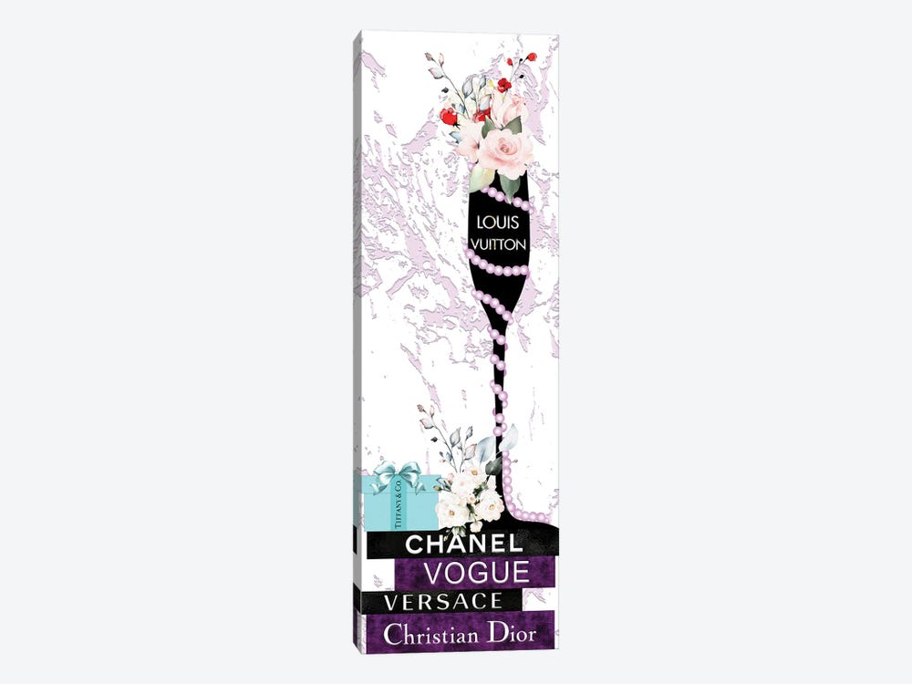 Louis Champagne Glass With Flowers Pearls On Purple & Black Fashion Books by Pomaikai Barron 1-piece Canvas Print