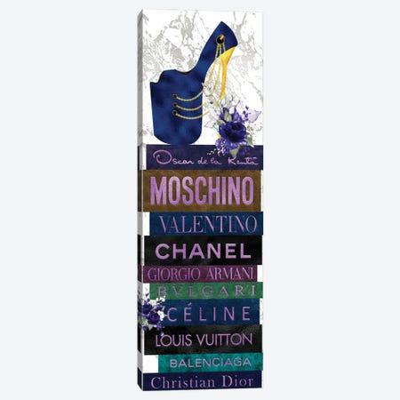 Deep Blue Peep Toe Stiletto & Blue Roses on Leather Fashion Books Canvas Print #POB487} by Pomaikai Barron Canvas Art Print