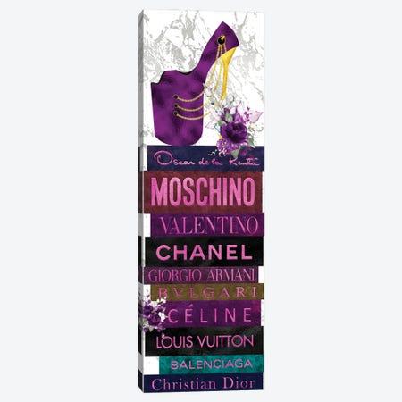 Purple Peep Toe Stiletto & Purple Roses on Leather Fashion Books Canvas Print #POB490} by Pomaikai Barron Canvas Print