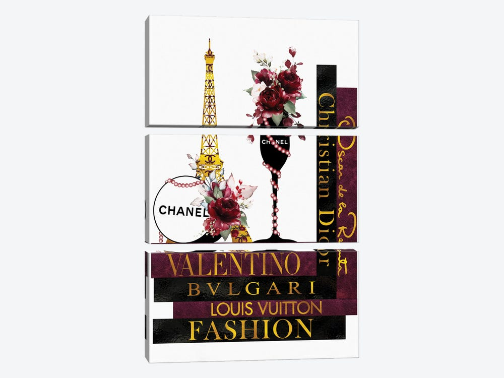 Deep Red Roses In Champagne Glass on Fashion Books by Pomaikai Barron 3-piece Canvas Art Print
