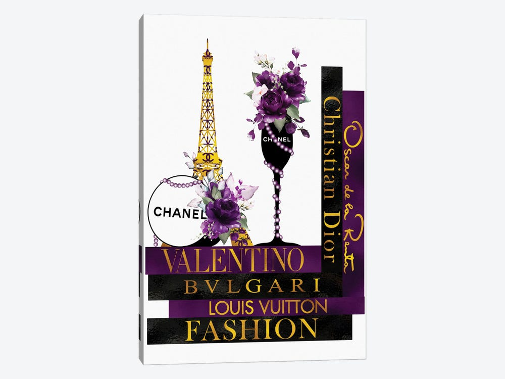 Purple Roses In Champagne Glass on Fashion Books by Pomaikai Barron 1-piece Canvas Wall Art