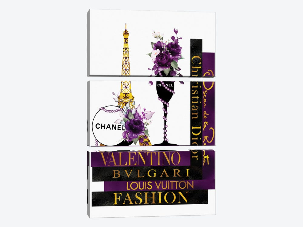 Purple Roses In Champagne Glass on Fashion Books by Pomaikai Barron 3-piece Canvas Wall Art