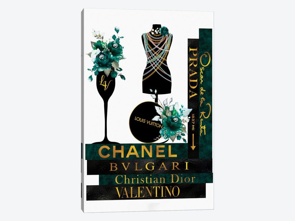 Roses Pearls & Fashion Books Green by Pomaikai Barron 1-piece Canvas Artwork