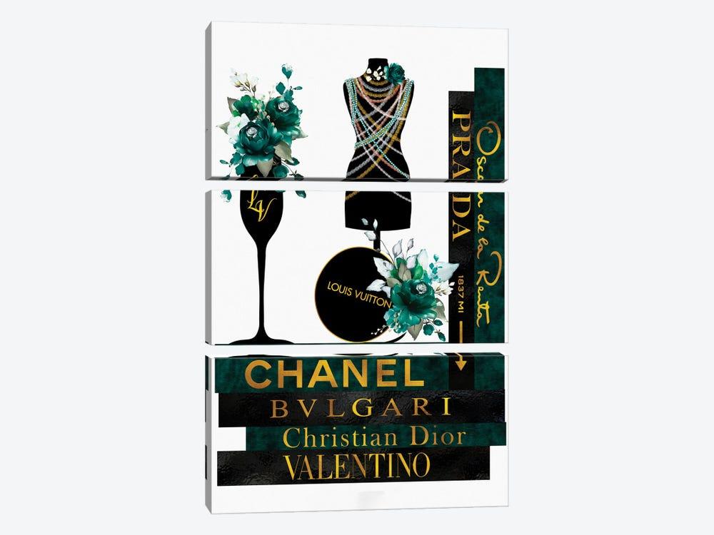 Roses Pearls & Fashion Books Green by Pomaikai Barron 3-piece Canvas Wall Art