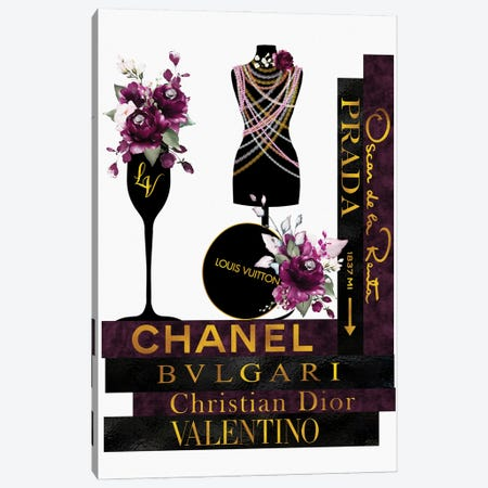 Burgundy  Roses Pearls & Fashion Books Canvas Print #POB499} by Pomaikai Barron Canvas Print