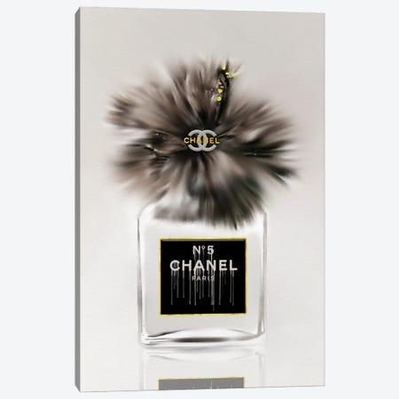 50 Shades Of Gray Fashion Perfume Bottle & Hibiscus Canvas Print #POB504} by Pomaikai Barron Canvas Artwork