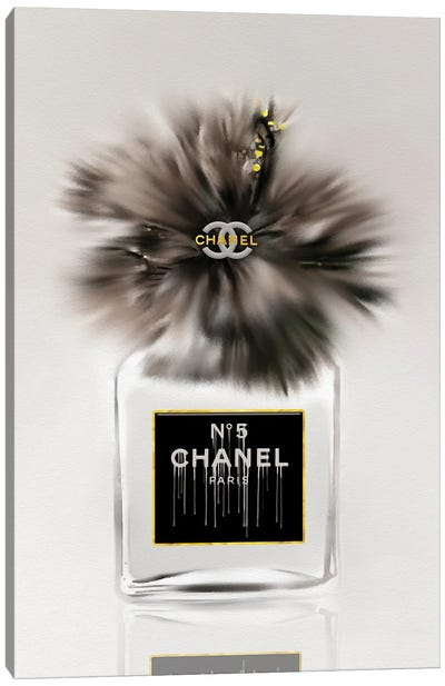 50 Shades Of Gray Fashion Perfume Bottle & Hibiscus Canvas Art Print