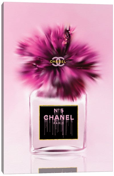 Give Me Some Pink! Fashion Perfume Bottle & Hibiscus Canvas Art Print