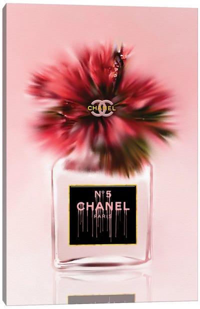 Little Red Fashion Perfume Bottle & Hibiscus Canvas Art Print