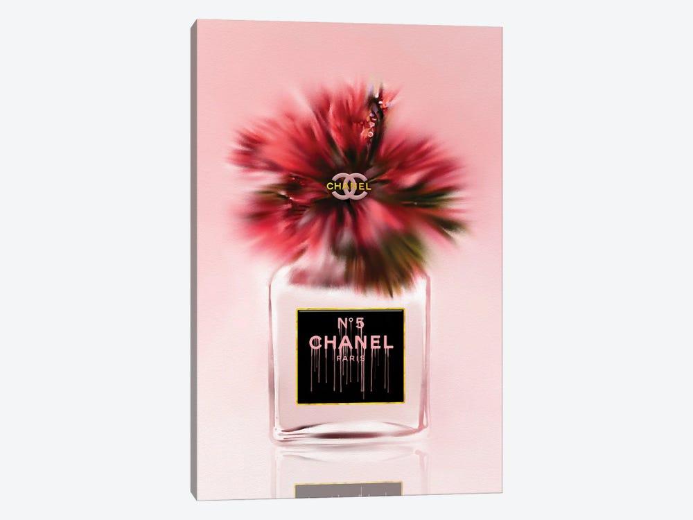 Little Red Fashion Perfume Bottle & Hibiscus by Pomaikai Barron 1-piece Canvas Art