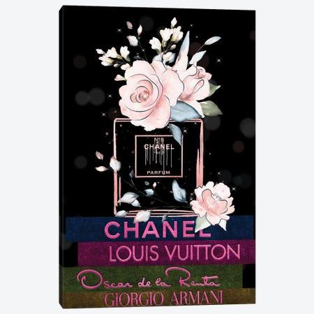 Blushed N05 Parfum On Fashion Leather Book Stack Canvas Print #POB507} by Pomaikai Barron Canvas Wall Art