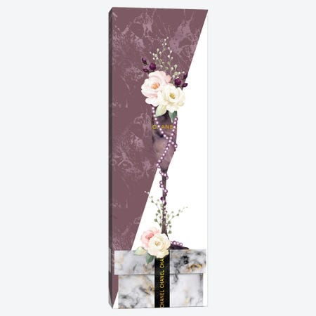 Mauve Marble Fashion Champagne Glass With Roses On White Marble Gift Box Canvas Print #POB510} by Pomaikai Barron Canvas Art