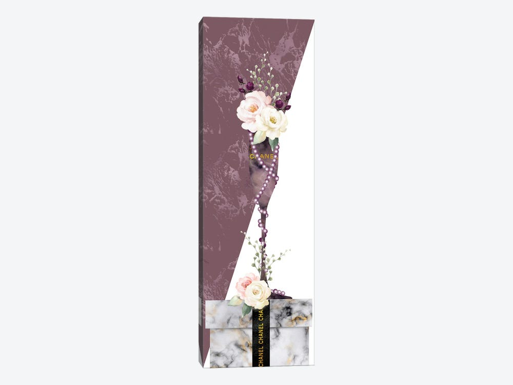 Mauve Marble Fashion Champagne Glass With Roses On White Marble Gift Box by Pomaikai Barron 1-piece Canvas Print