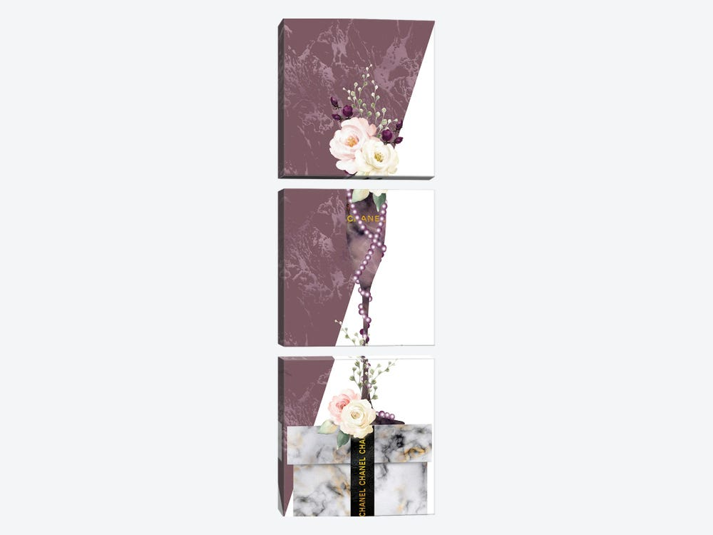 Mauve Marble Fashion Champagne Glass With Roses On White Marble Gift Box by Pomaikai Barron 3-piece Art Print