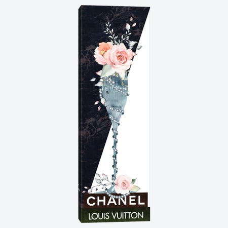 Blue Marble Fashion Champagne Glass With Roses & Pearls On Fashion Books Canvas Print #POB511} by Pomaikai Barron Canvas Artwork