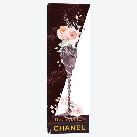 Mauve Marble Fashion Champagne Glass With Roses & Pearls On Fashion Books Canvas Print #POB512} by Pomaikai Barron Canvas Art