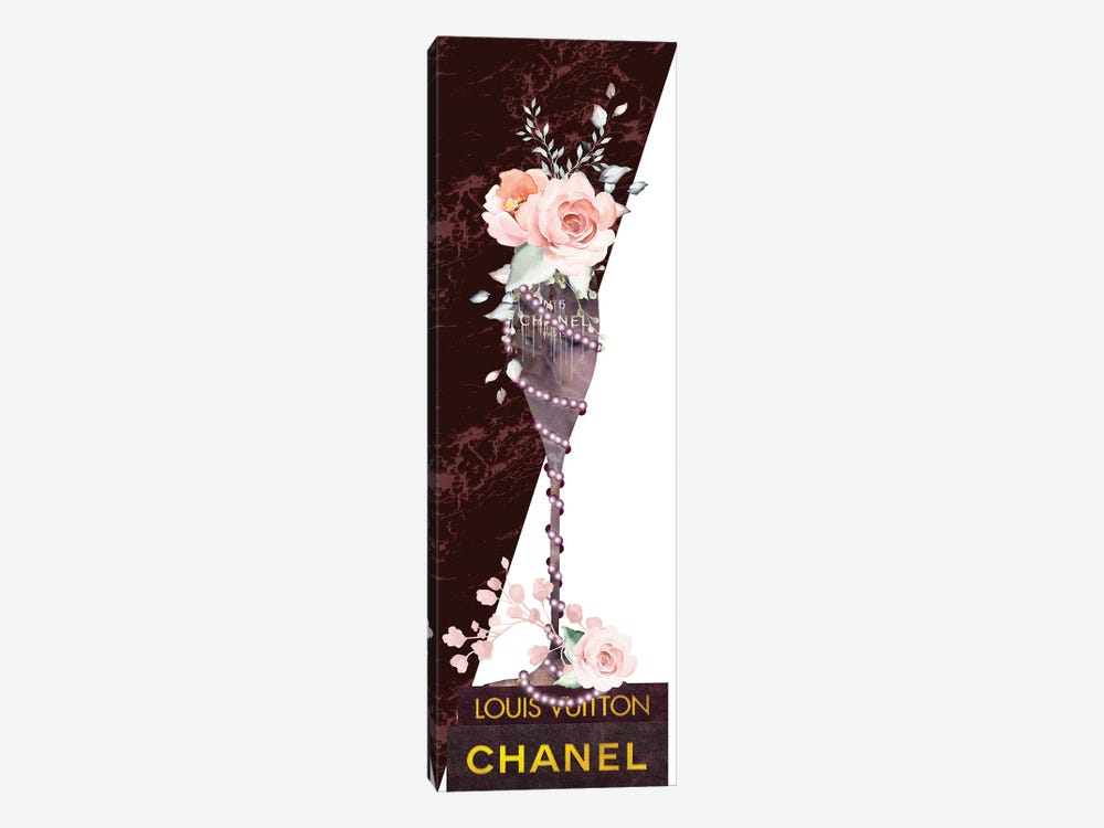 Mauve Marble Fashion Champagne Glass With Roses & Pearls On Fashion Books by Pomaikai Barron 1-piece Canvas Art Print