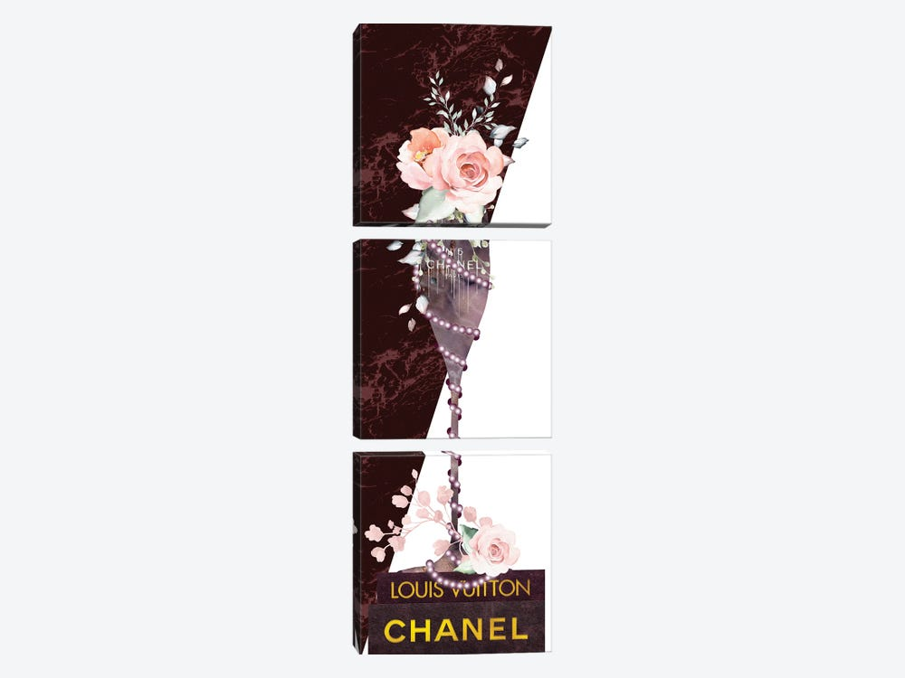 Mauve Marble Fashion Champagne Glass With Roses & Pearls On Fashion Books by Pomaikai Barron 3-piece Canvas Art Print