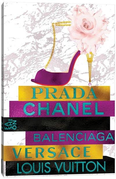 Magenta Peep Toe Heel With Roses On Fashion Books Canvas Art Print